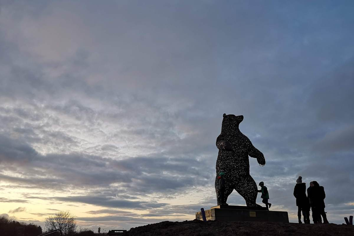 Dunbar Bear in the winter sunset